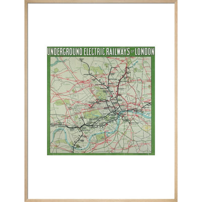 The London Underground print in natural frame