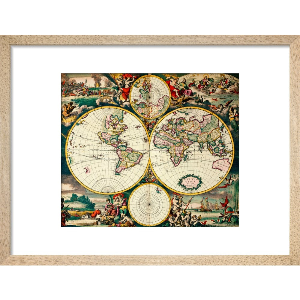 Four Hemisphere World Map print in natural frame