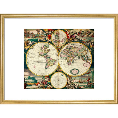 Four Hemisphere World Map print in gold frame