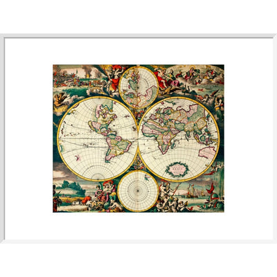 Four Hemisphere World Map print in white frame
