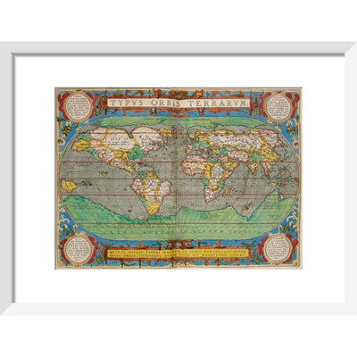 World Map (from Theatrum Orbis Terrarum) print in white frame