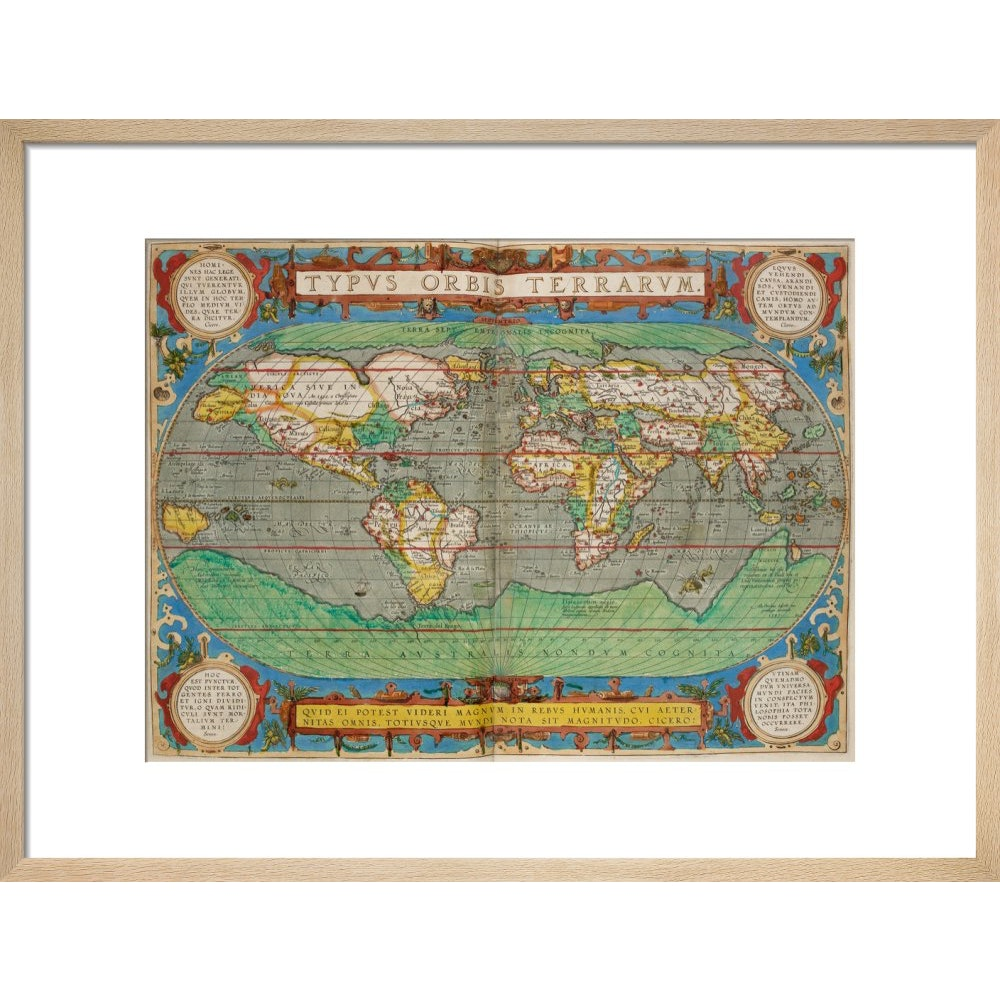 World Map (from Theatrum Orbis Terrarum) print in natural frame