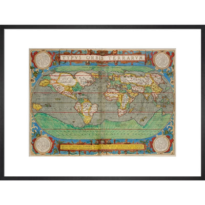 World Map (from Theatrum Orbis Terrarum) print in black frame