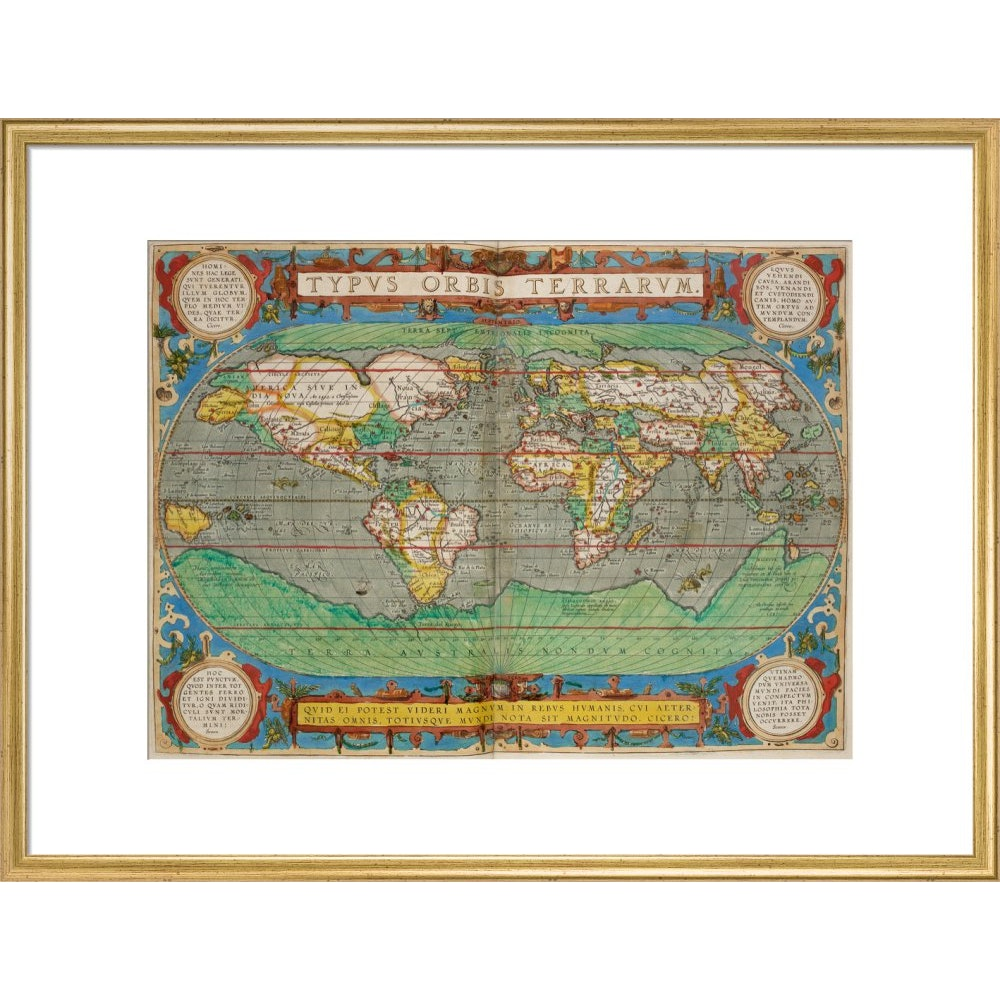 World Map (from Theatrum Orbis Terrarum) print in gold frame