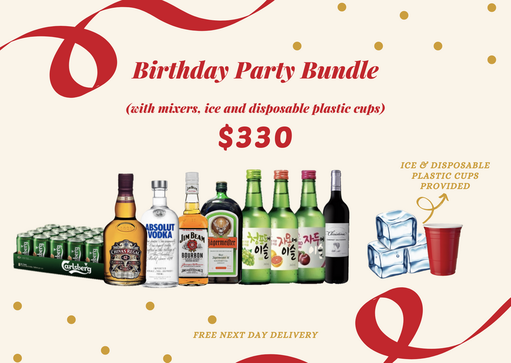 Birthday Party Bundle 2 (with mixers, ice & disposable cups) Alcohol Delivery Singapore