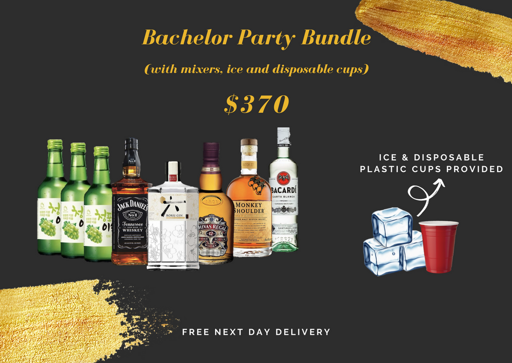 Bachelor Party Bundle (with mixers, ice & disposable cups) Alcohol Delivery Singapore Cheap liquor Singapore