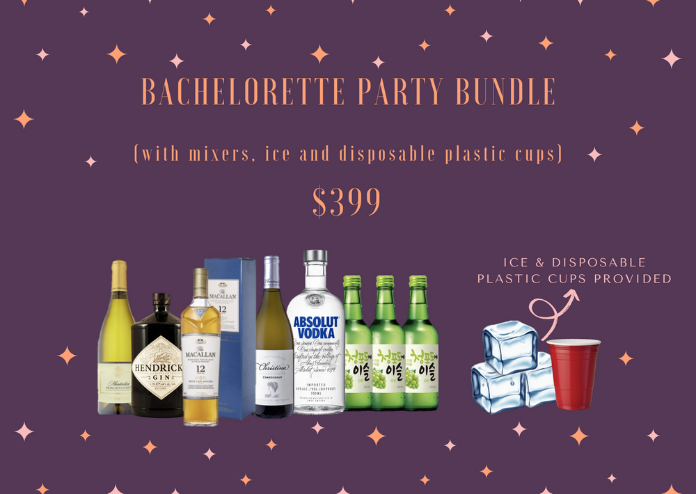 Bachelorette Party Bundle (with mixers, ice & disposable cups) Alcohol Delivery Singapore Cheap Liquor Singapore