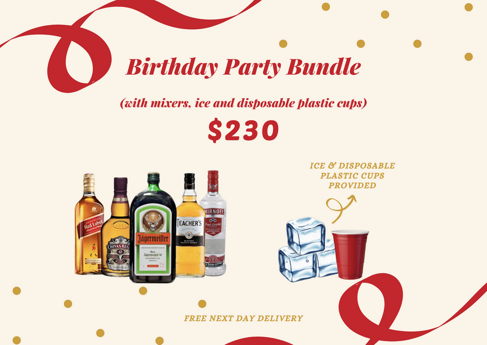 Birthday Party Bundle 1 (with mixers, ice & disposable cups) Alcohol Delivery Singapore Cheap Liquor Singapore