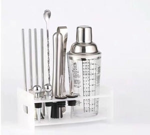 Glass Cocktail Shaker 9 pieces set