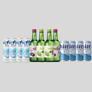 Stay Home Bundle Deal - 4 Jinro Soju 4 Milkis 4 Hite beer for $60.60