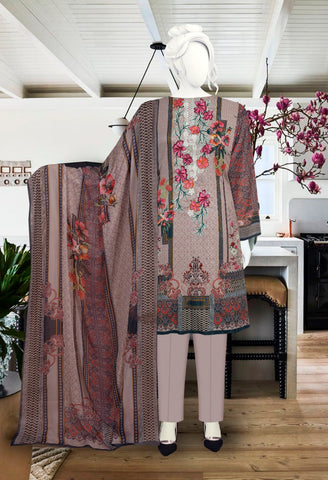 3pc Digital Masoori with Embroidered just in 1700