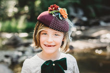 Load image into Gallery viewer, Burgundy Fall Large Round Fascinator