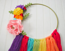 Load image into Gallery viewer, Floral Rainbow  Modern Hoop