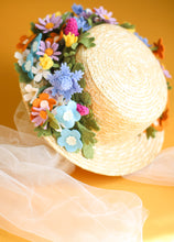 Load image into Gallery viewer, Floral Vintage Boater Straw Hat