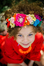 Load image into Gallery viewer, Flor de Dalia inspired Crown//Felt// Feltheadband//feltcrown//flowercrown//whimsical//Mexicanparty//Flowers//Mexican//Fiestaparty//texmex