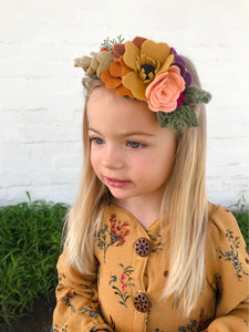 Slring crown  /felt/felt flower/ feltheadband/feltflower/feltaccesories/Fall/photoProps/newborn/kids/hair