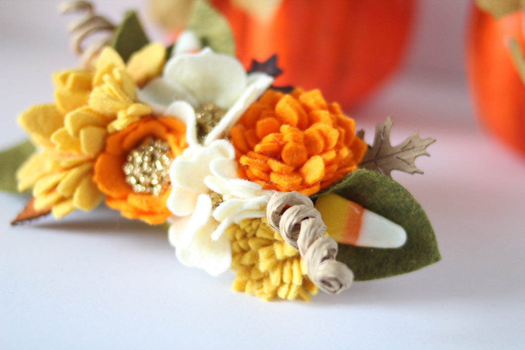 Candy Corn/felt flowers/felt/floral crowns/halloween/celebration/floral tiaras/kids/costumes