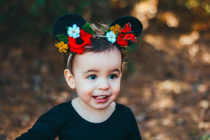 Classic Ears Mouse inspired  |feltcrown|feltflowers|hairaccesories|mouseears|minniemousebirthdayparty|headbands|feltheadbands