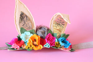 Oh My! Whiskers and Ears Collection /felt flowers/pretend florals/ headbands/felt florals/bunny/easter/birthday