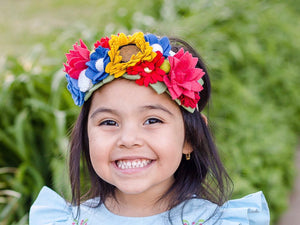 The Elena Crown/felt flowers/felt flower/fiestacrowns/mexicanfiesta/birthday/babyshower/fiesta crown