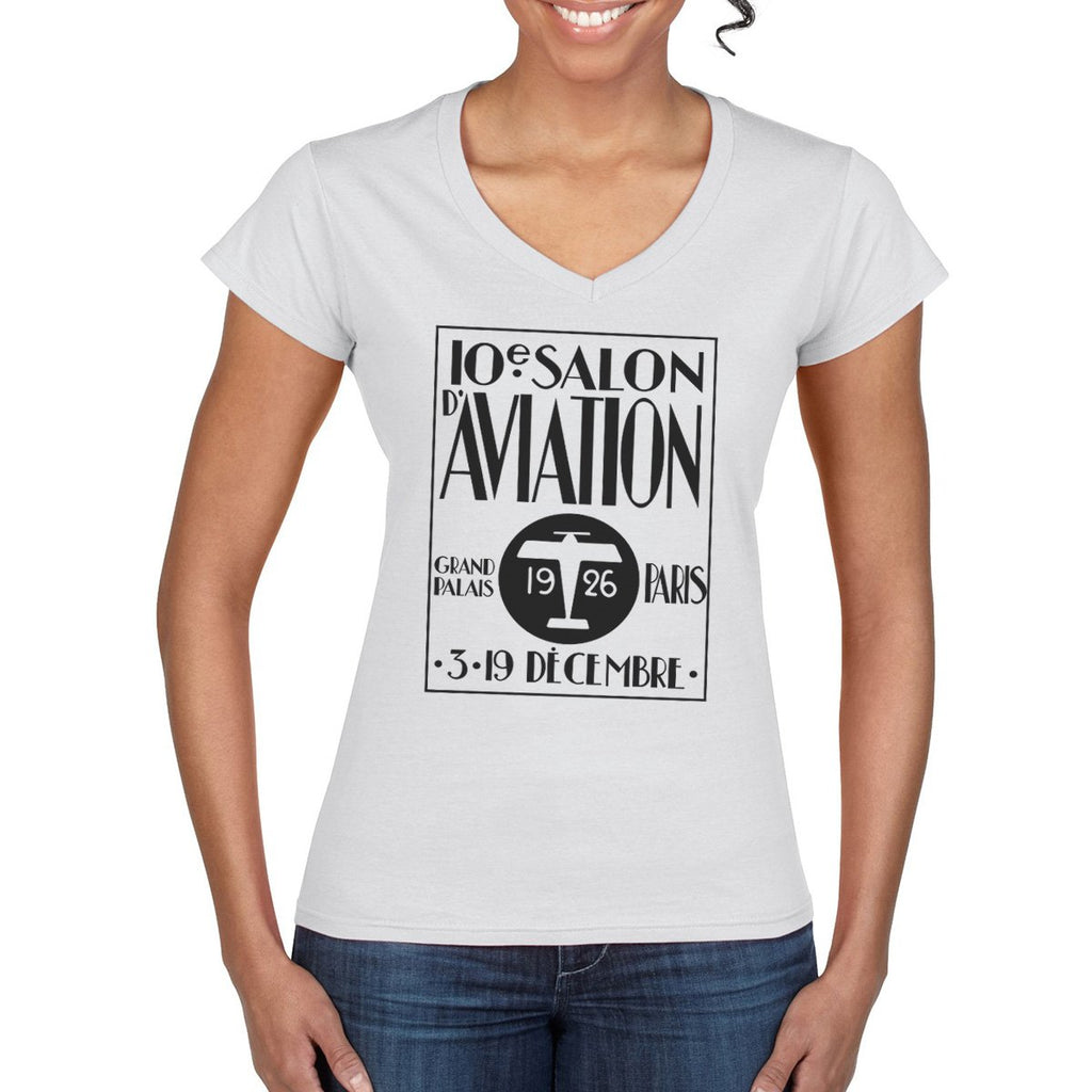SALON D AVIATION Semi-Fitted V-Neck T-Shirt