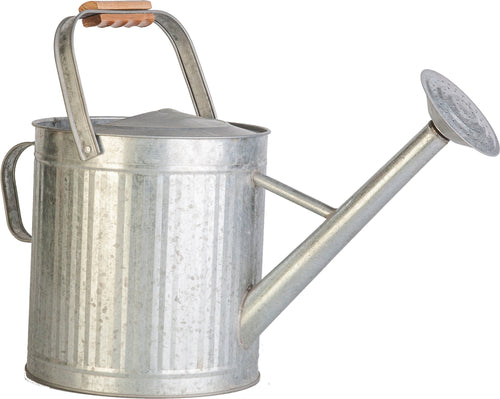 Vintage Galvanized Watering Can With Wood Handle