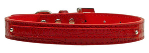 "3/8"" (10mm) Faux Croc Two Tier Collars Red Large"