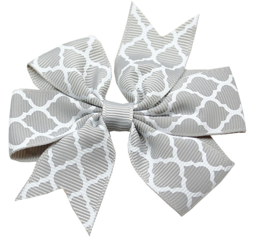 Hair Bow Quatrefoil Alligator Clip Grey