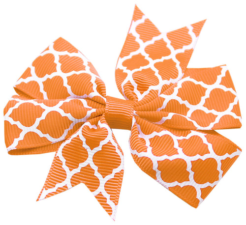 Hair Bow Quatrefoil Alligator Clip Orange