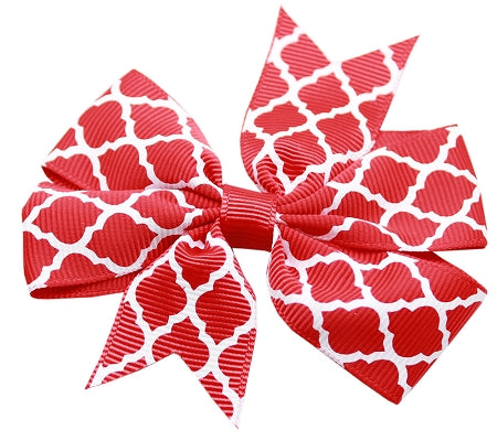 Hair Bow Quatrefoil Alligator Clip Red