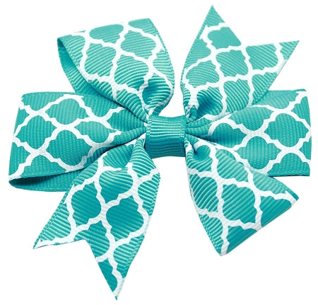 Hair Bow Quatrefoil Alligator Clip Turquoise