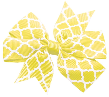 Hair Bow Quatrefoil Alligator Clip Yellow