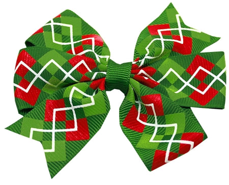 Hair Bow Christmas Argyle Alligator Clip