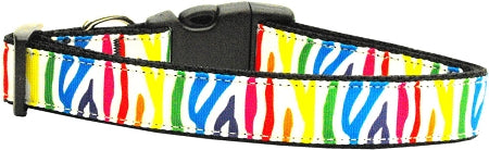 Zebra Rainbow Nylon Ribbon Dog Collars Medium