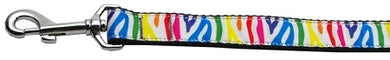 Zebra Rainbow Nylon Ribbon Dog Collars 1 wide 6ft Leash