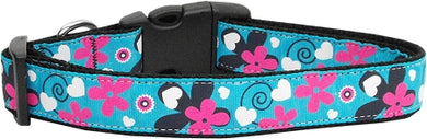Aqua Love Nylon Ribbon Dog Collars Large