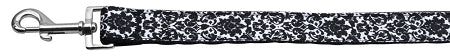 Fancy Black and White Nylon Ribbon Dog Collars 1 wide 4ft Leash