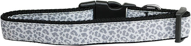 Silver Leopard Nylon Dog Collar Medium