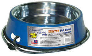 Heated Pet Bowl With Stainless Steel Insert