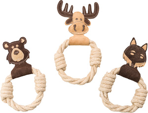 Dura-fused Leather Animal Rings Dog Toy