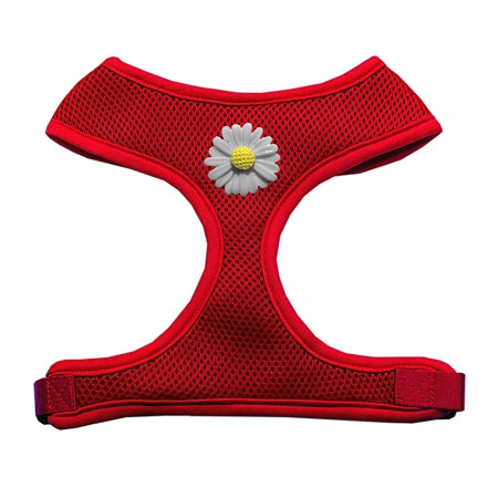 White Daisies Chipper Red Harness Large
