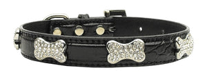 Faux Croc Crystal Bone Collars Black Small