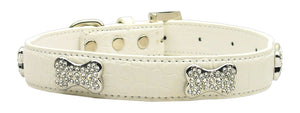 Faux Croc Crystal Bone Collars White Large