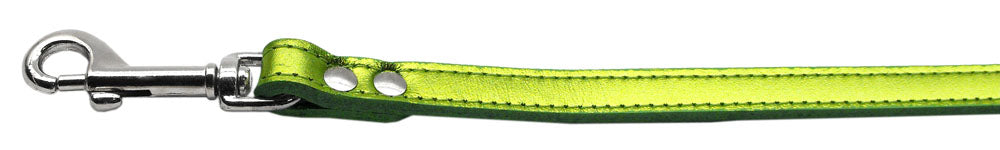 Fashionable Leather Leash Metallic Lime Green 1/2'' Wide