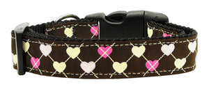 Argyle Hearts Nylon Ribbon Collar Brown Medium