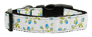 Roses Nylon Ribbon Collar Blue Medium