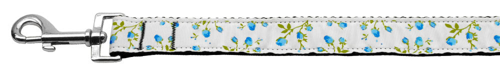 Roses Nylon Ribbon Leash Blue 1 inch wide 6ft Long