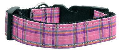 Plaid Nylon Collar  Pink Large