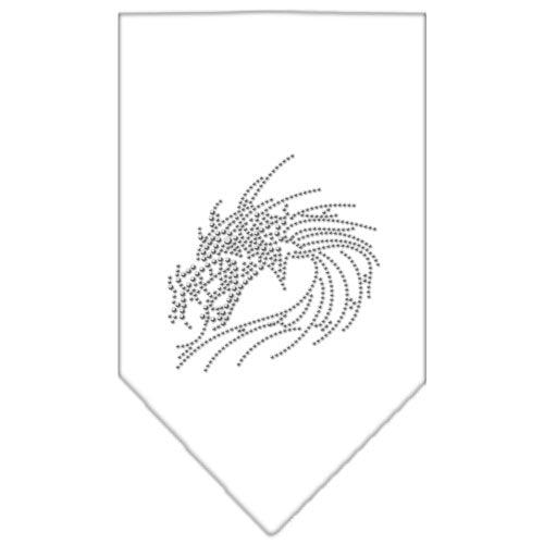 Dragon Rhinestone Bandana White Small