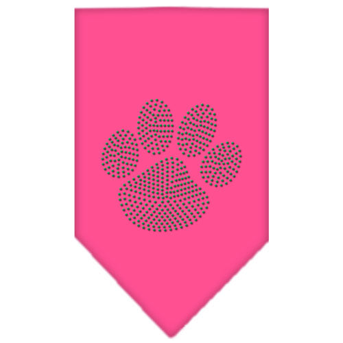 Paw Green Rhinestone Bandana Bright Pink Small